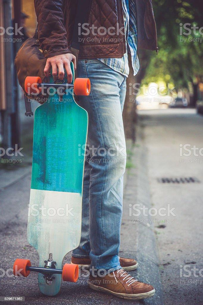 Skateboarder on the street stock photo