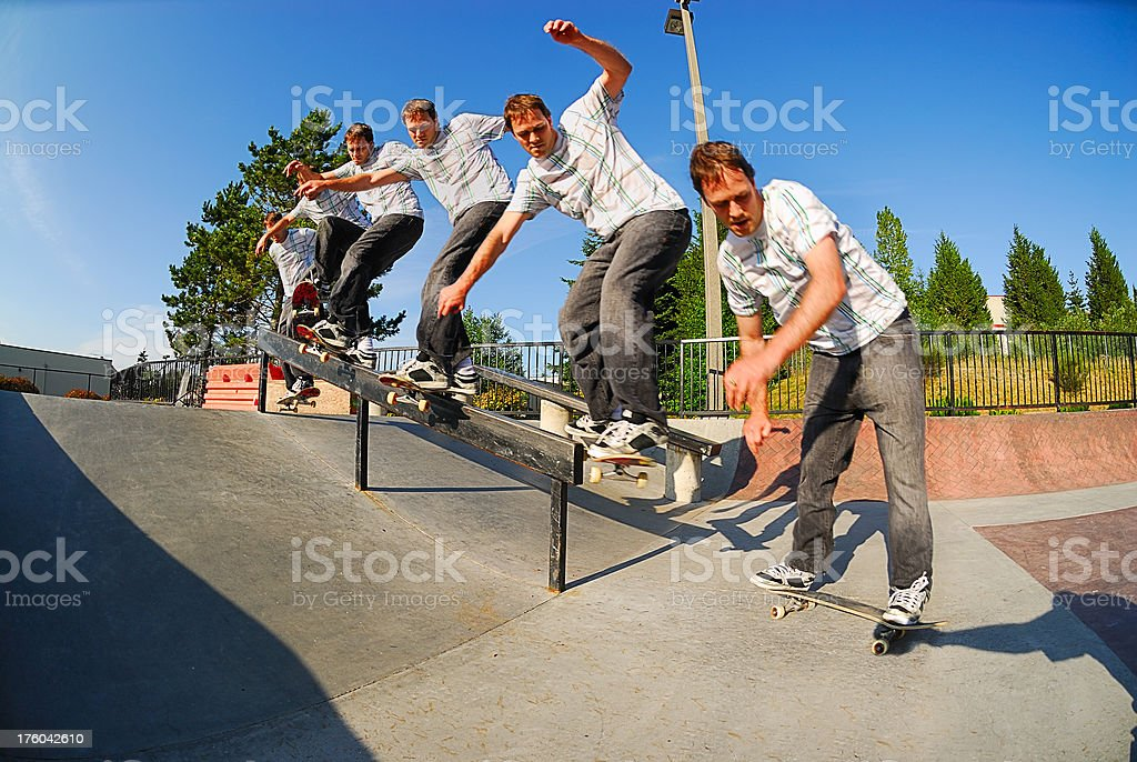 Skateboarder - Rail Slide Sequence stock photo