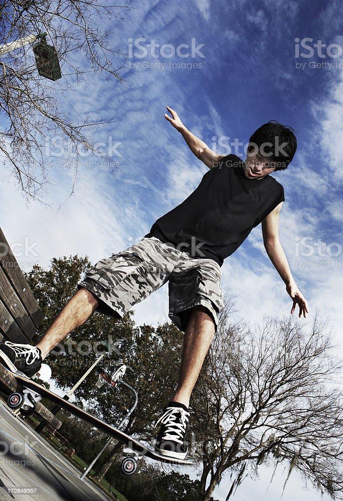 skateboarder railing stock photo