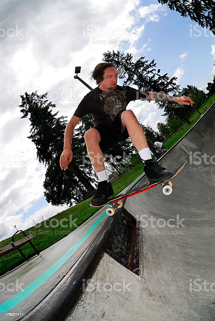 Skateboarder - Roll in over Death Box stock photo