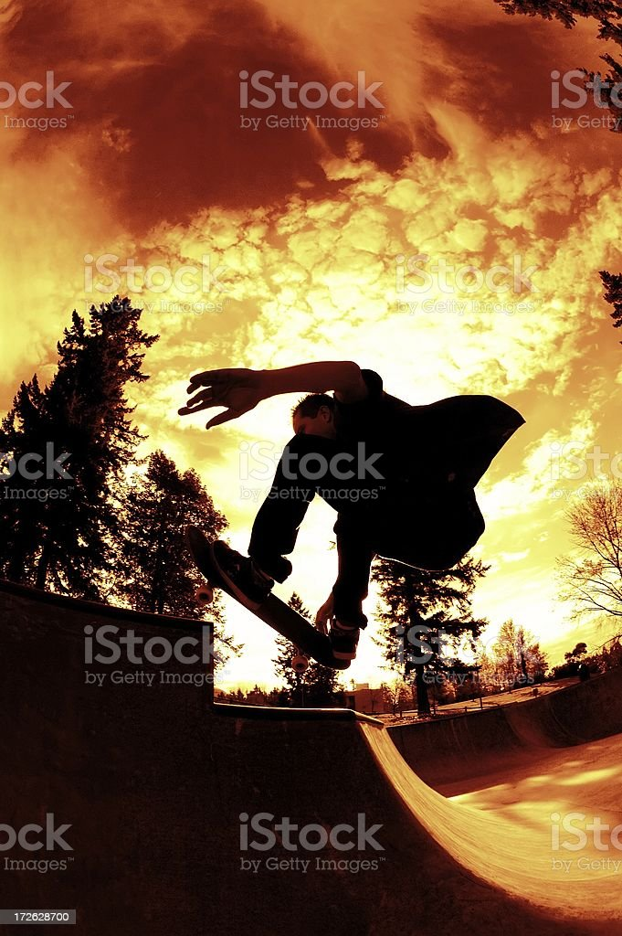 Skateboarder Silhouette - Air over the Hip royalty-free stock photo