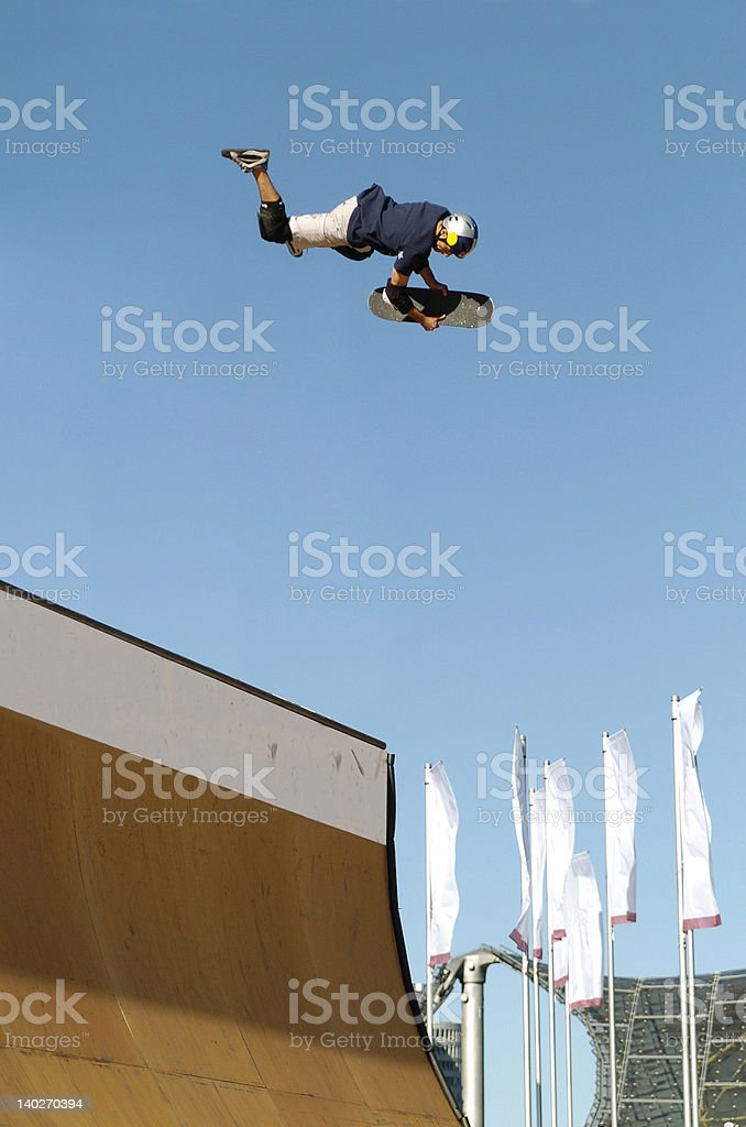 Skateboarder Superman stock photo