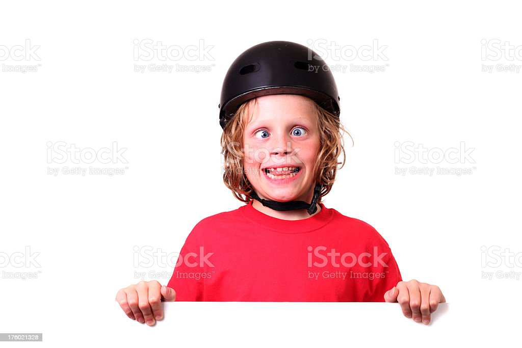 skateboarder with blank sign stock photo