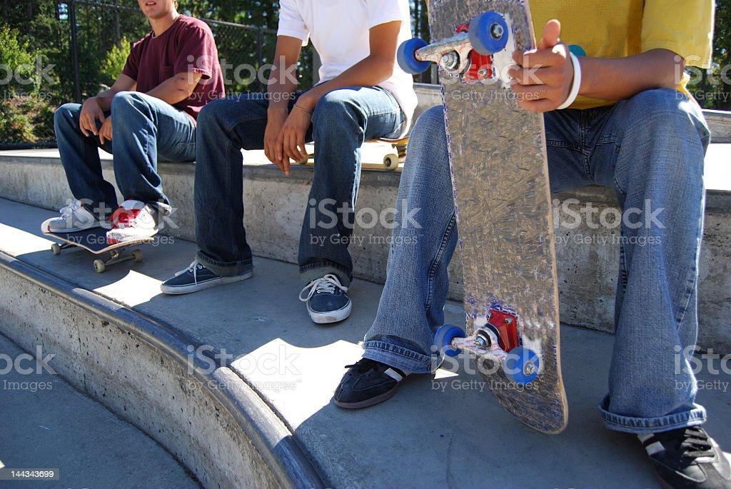 Skateboarders Resting royalty-free stock photo
