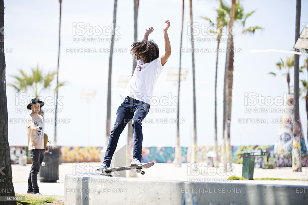 Skateboarders Shooting Video in Venice Beach royalty-free stock photo