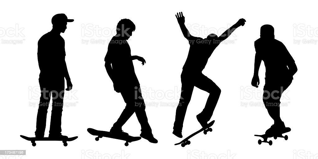 skateboarders silhouettes set 2 royalty-free stock photo