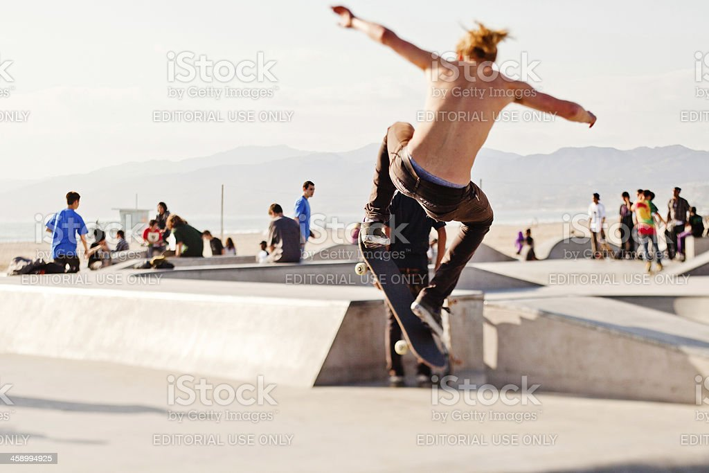 Skateboarding at Venice Beach royalty-free stock photo