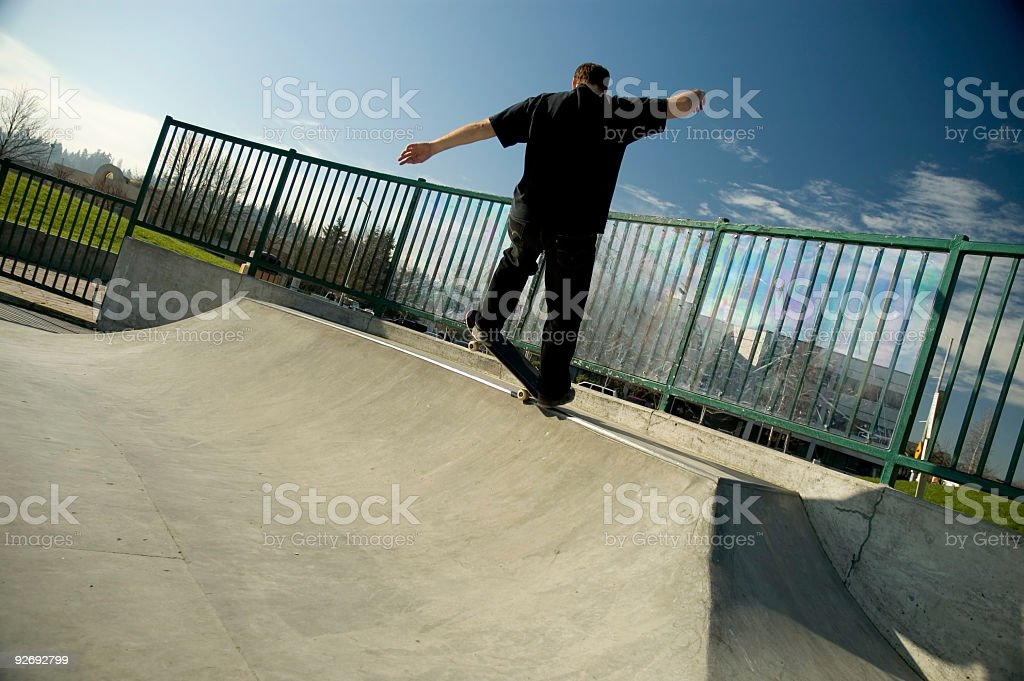Skateboarding - Fronside Grind 1 royalty-free stock photo
