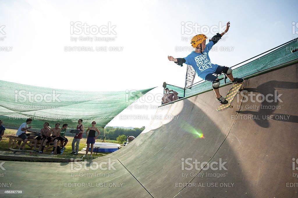 Skateboarding in ramp stock photo