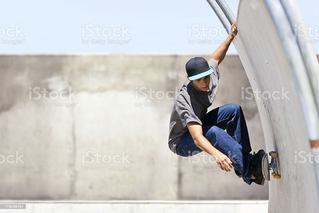 Skateboarding In Tube royalty-free stock photo