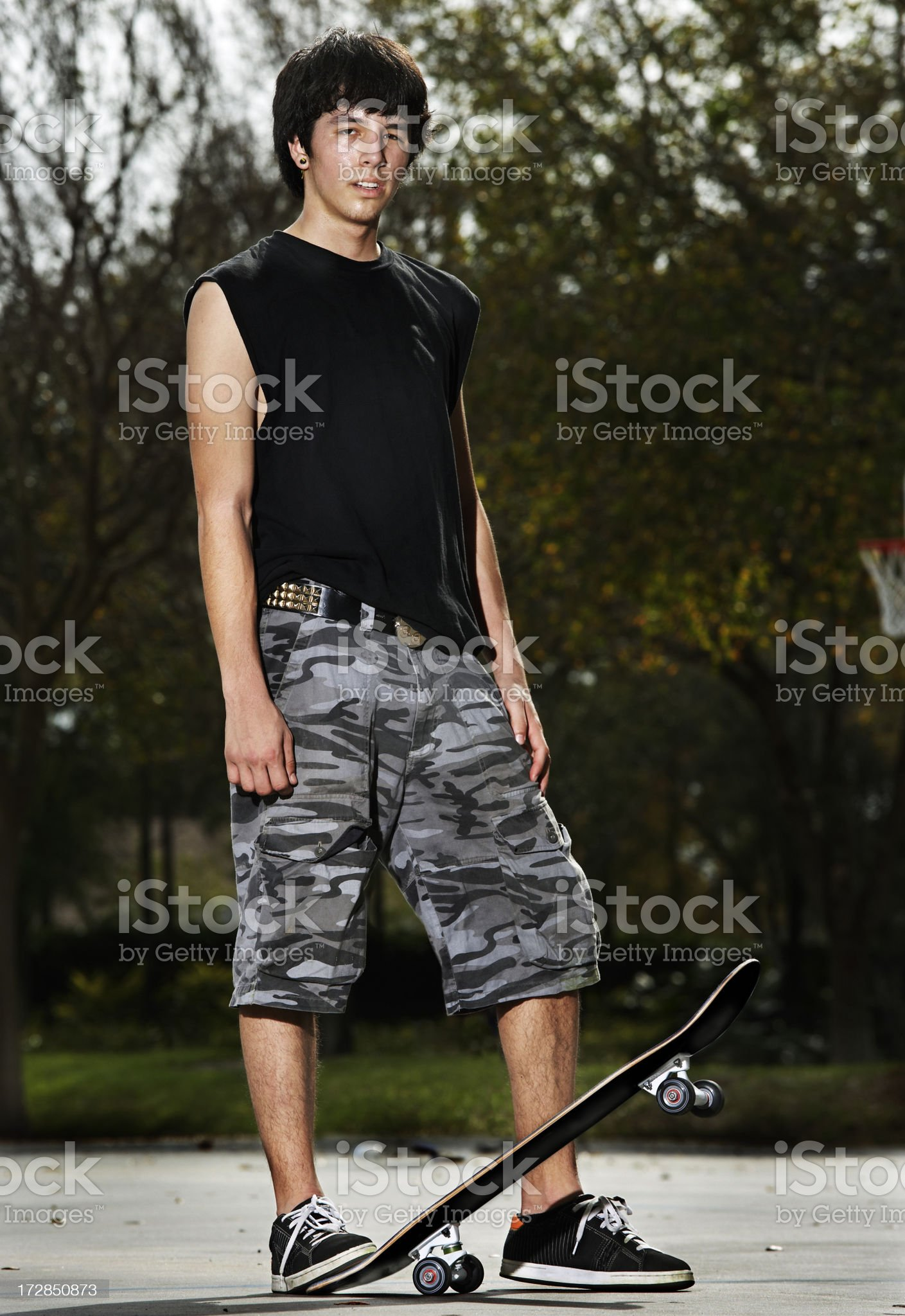 Skateboarding portrait. royalty-free stock photo