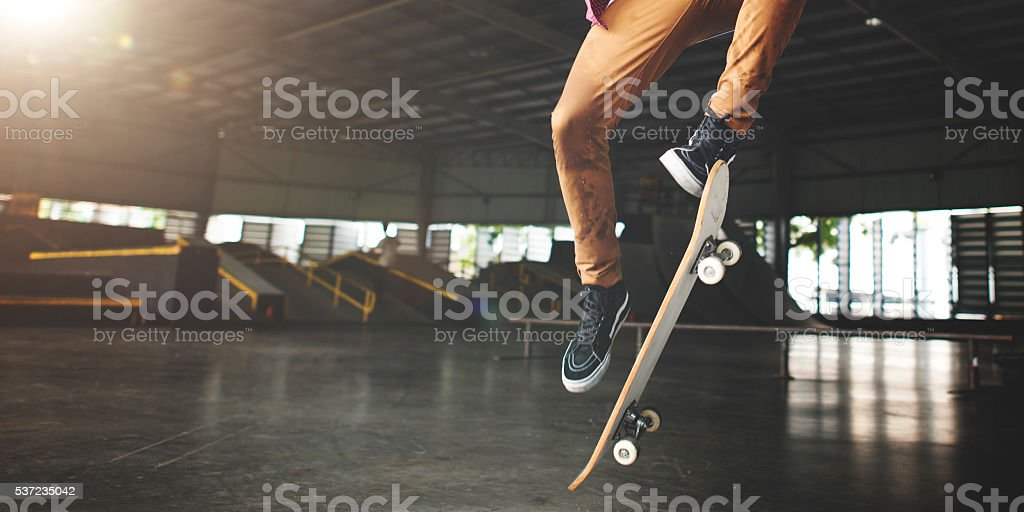 Skateboarding Practice Freestyle Extreme Sports Concept stock photo