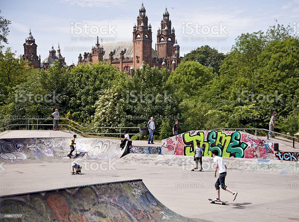Skatepark in Kelvingrove Park, Glasgow; Museum/Art Gallery behind. stock photo