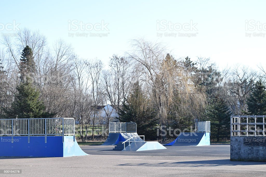 Skatepark  With Various Ramps Rails And A Miniramp stock photo