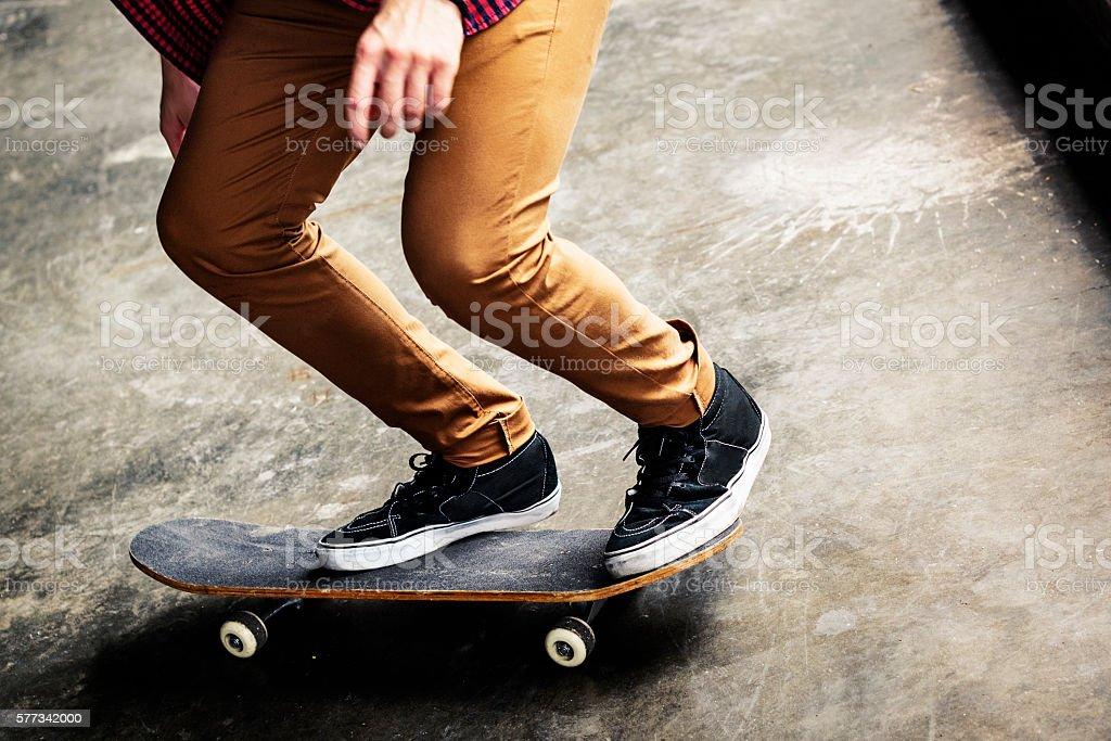 Skater Boy Cruising Board Street Concept stock photo