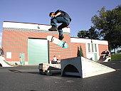 Skater doing a Kickflip