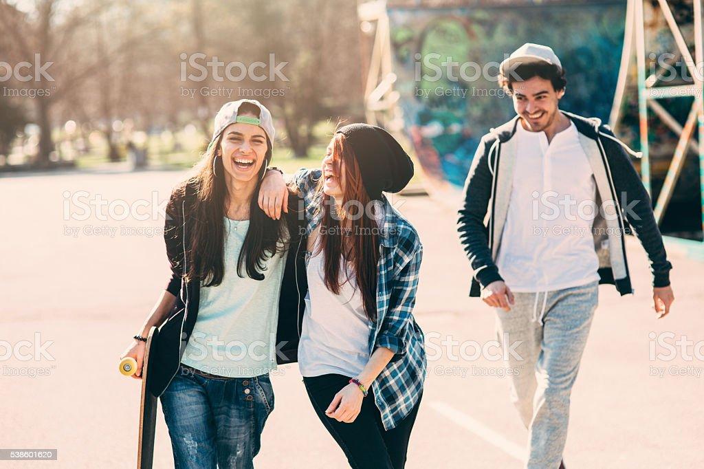 Skater Friends stock photo