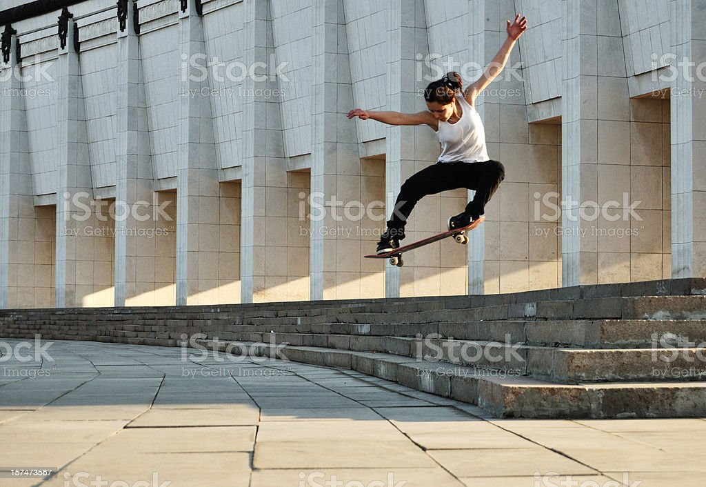 skater girl stock photo