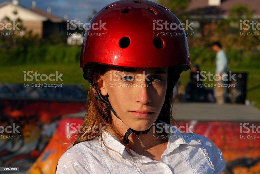 Skater Girl Staring stock photo