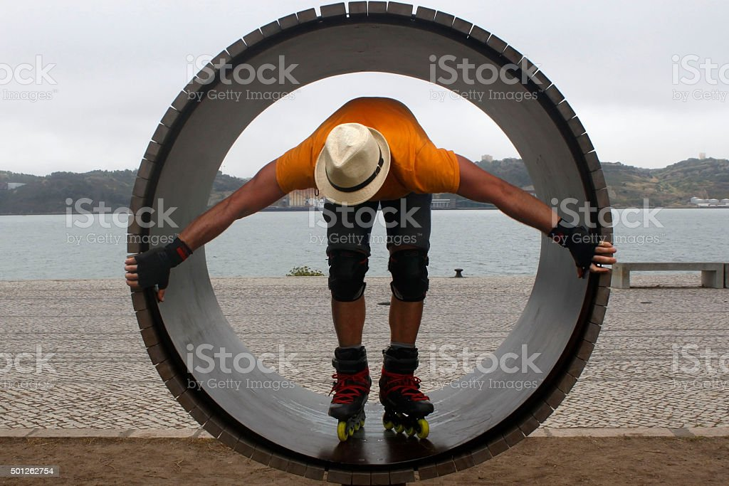 skater in a wheel with a hat in Lisbon stock photo