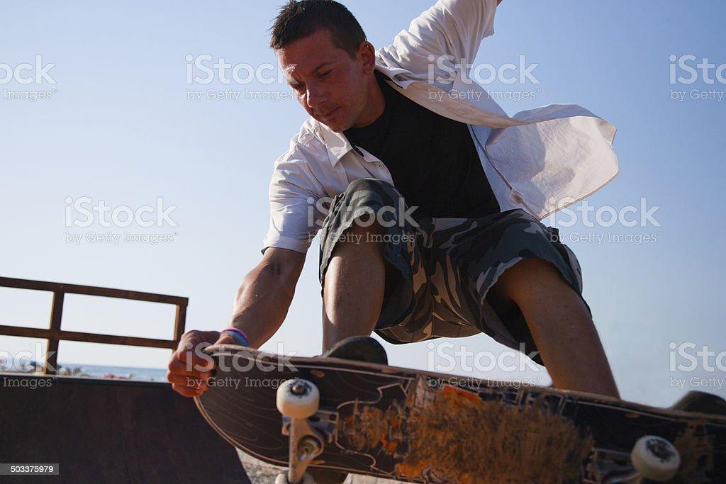 Skater on ramp 03 stock photo