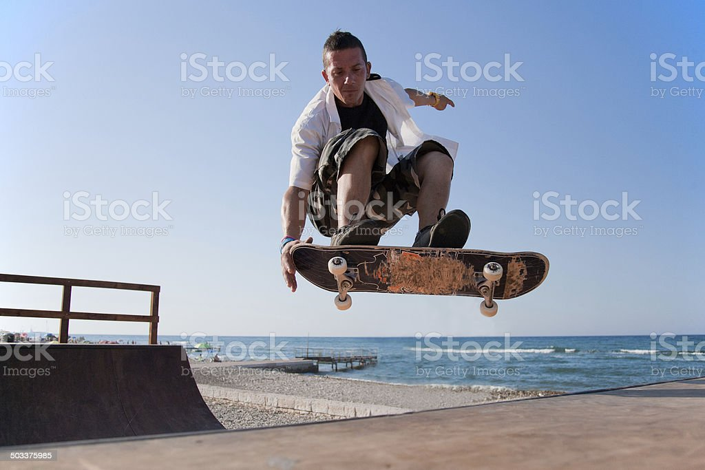 Skater on ramp 04 stock photo