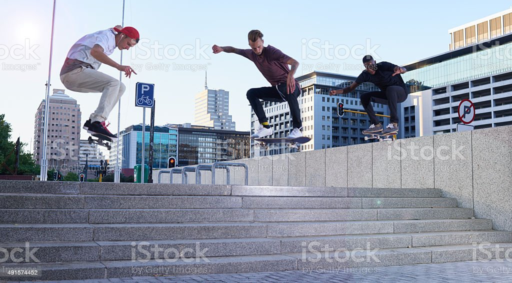 Skaters only stock photo