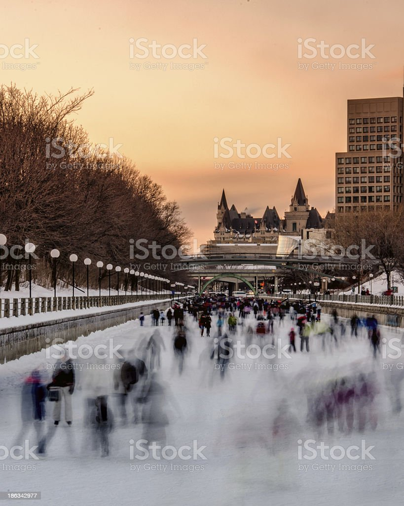 Skating at Sunset on the Rideau Canal stock photo