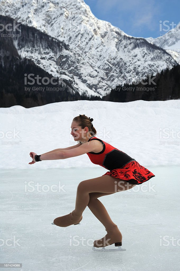 Skating in the mountains stock photo