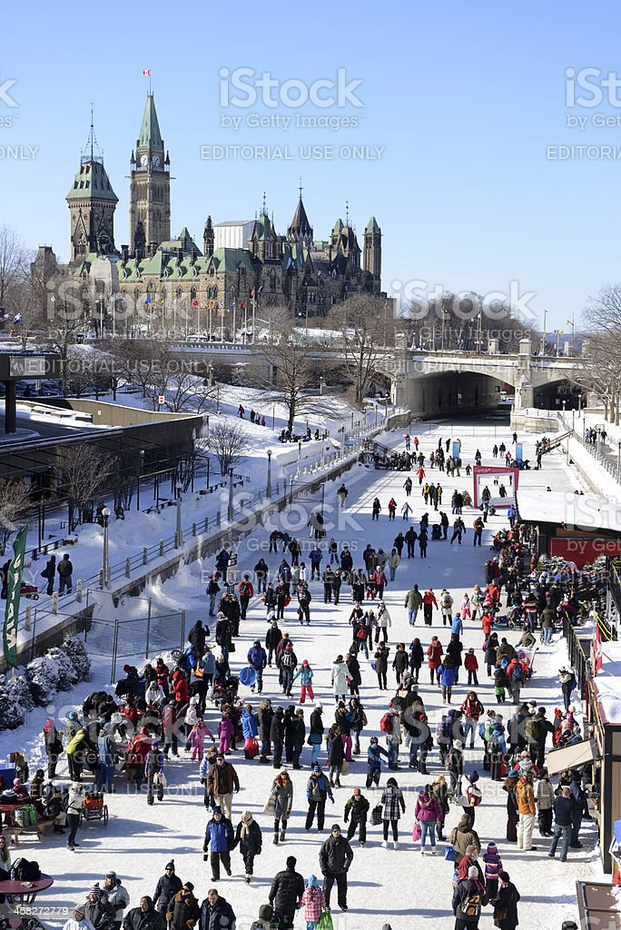 Skating on the Rideau Canal in Ottawa stock photo