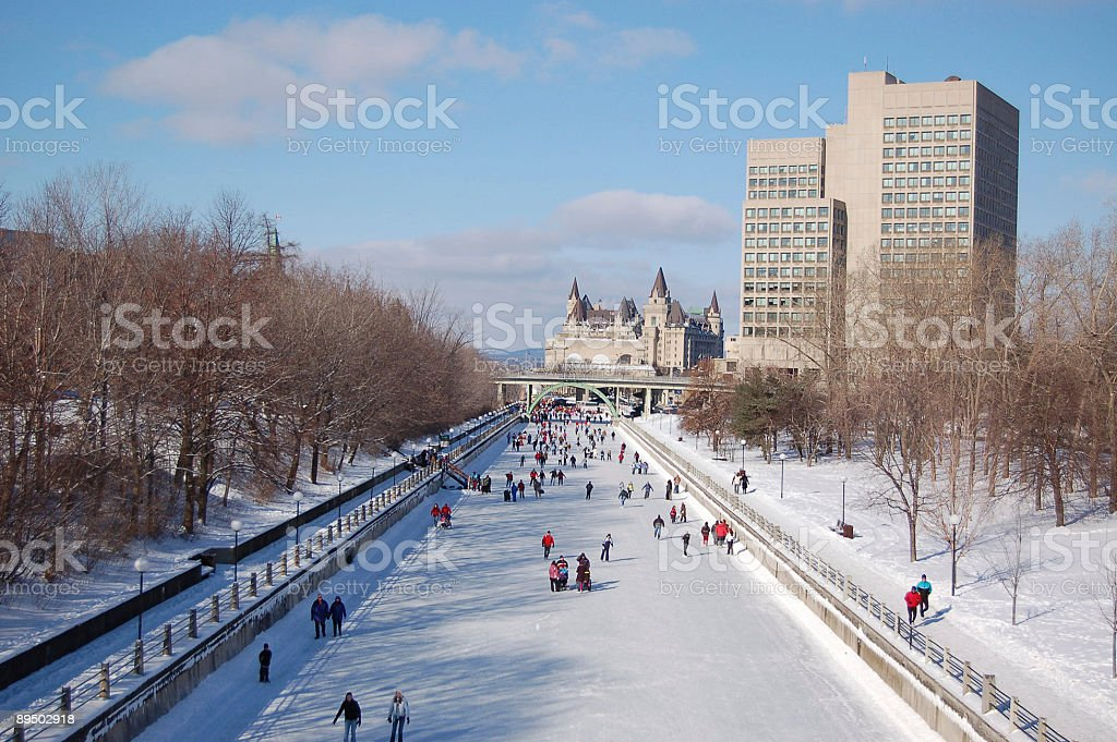 Skating on the Rideau Canal in Ottawa (UNESCO) royalty-free stock photo