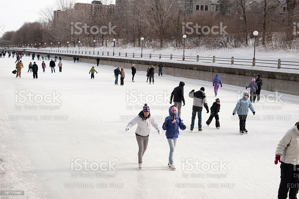 Skating on the Rideau Canal. stock photo