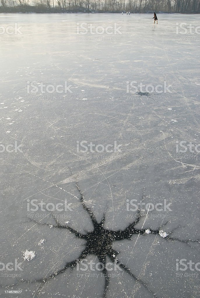 Skating on thin ice stock photo