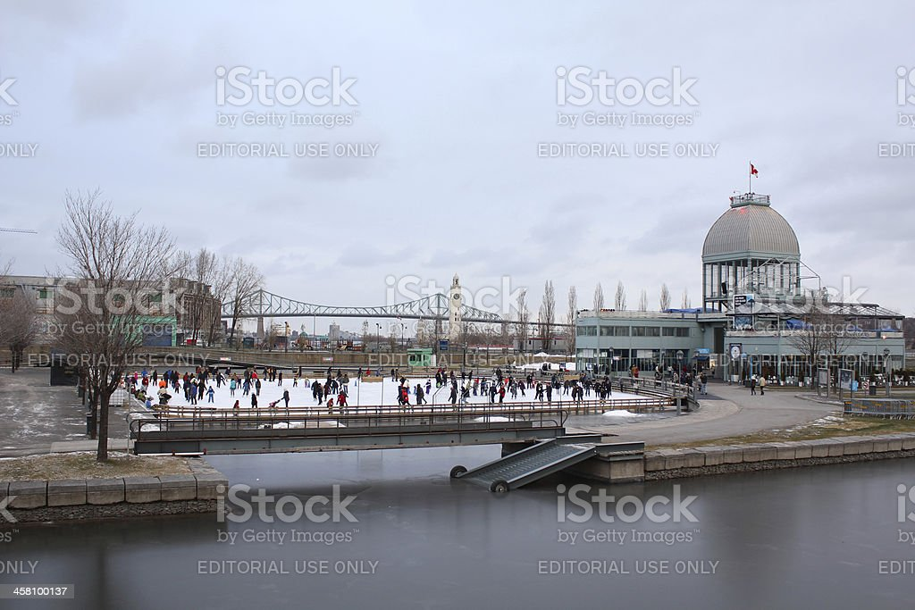 Skating Outdoors at the Old Port of Montreal stock photo