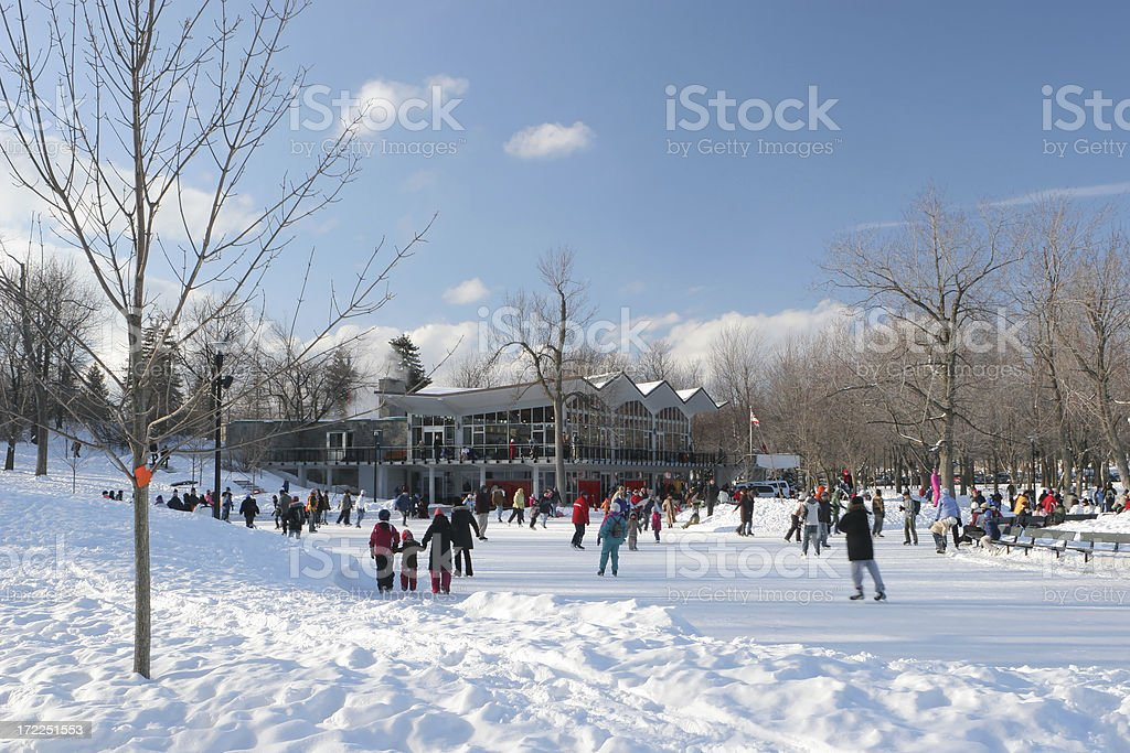 Skating park on top of the Mount Royal in Montreal royalty-free stock photo