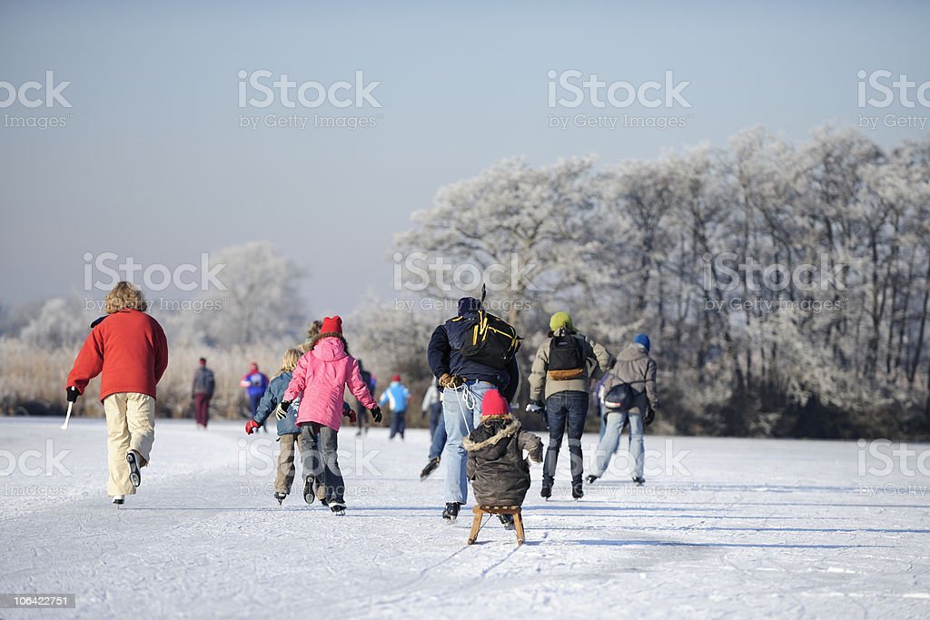 Skating people on a lake in the Netherlands stock photo