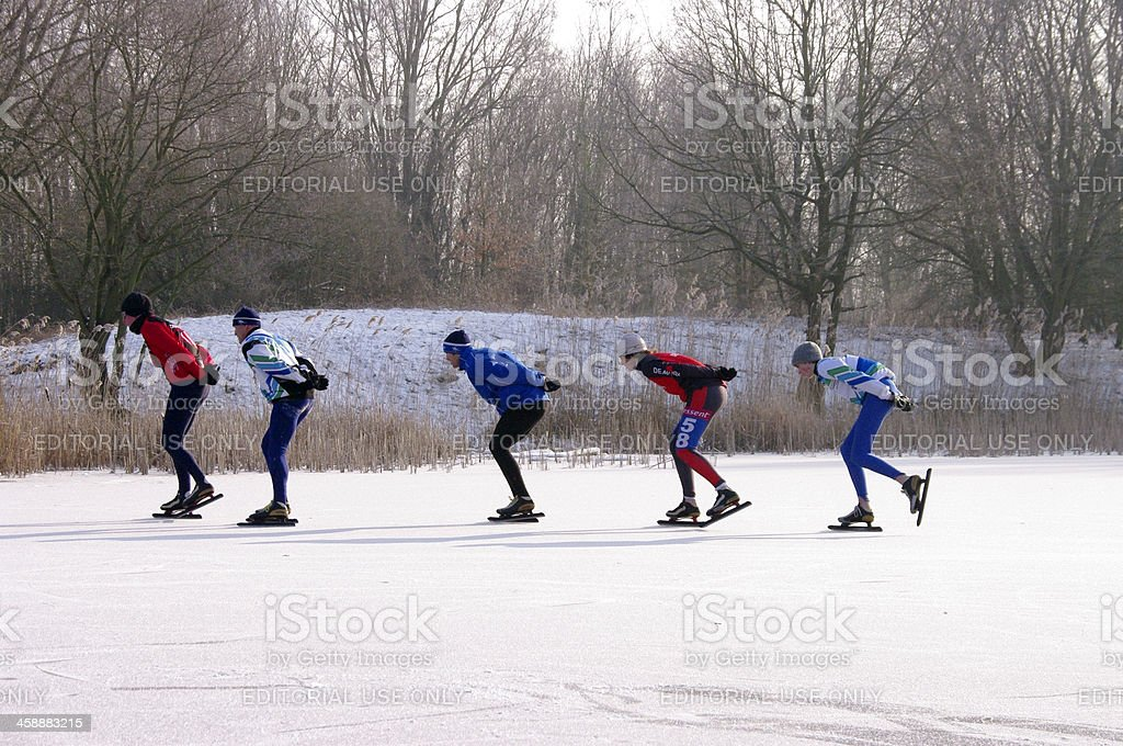 Skating race in Holland stock photo