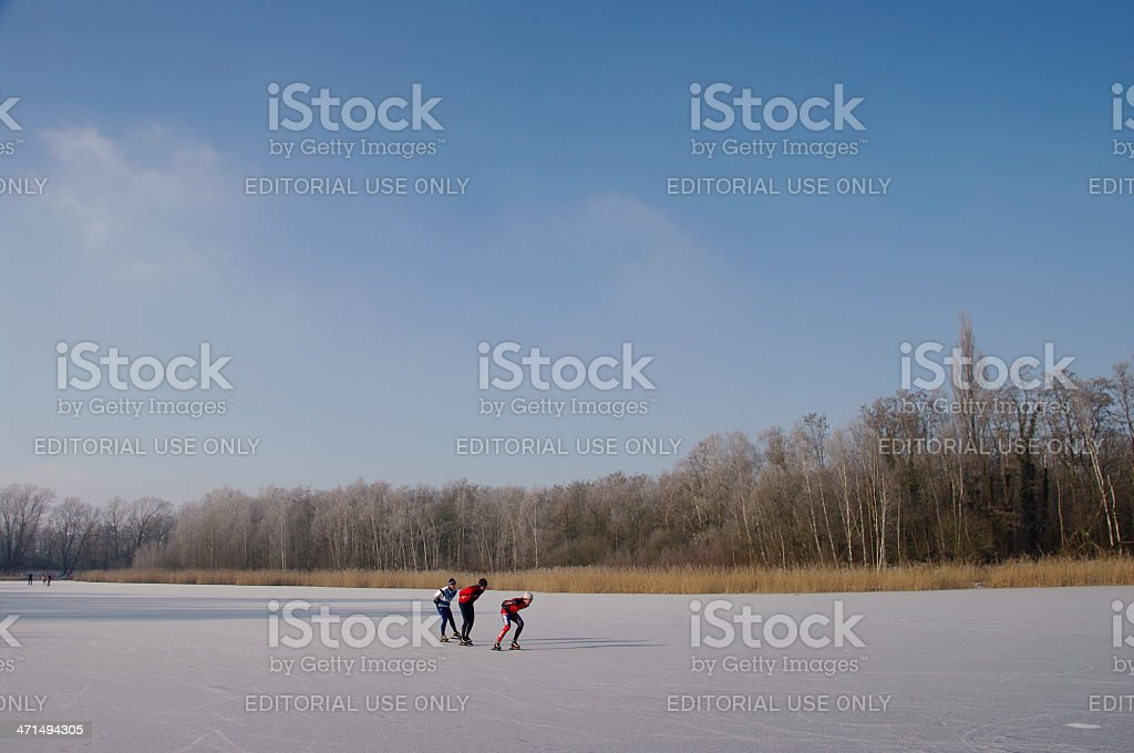 Skating race in Limburg stock photo