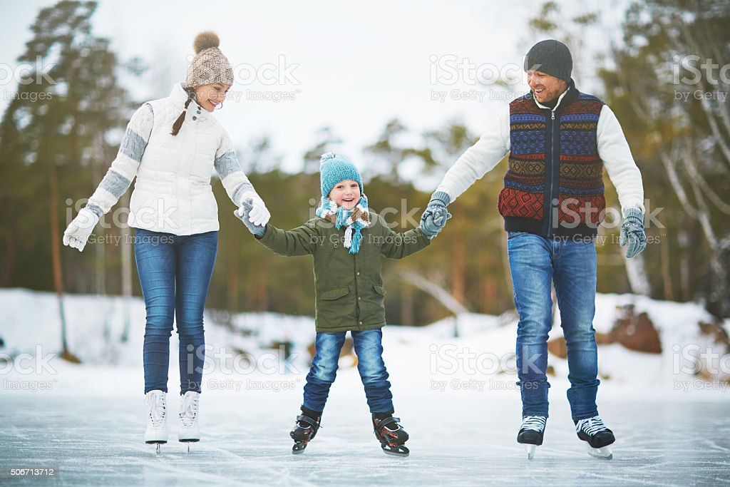 Skating together stock photo