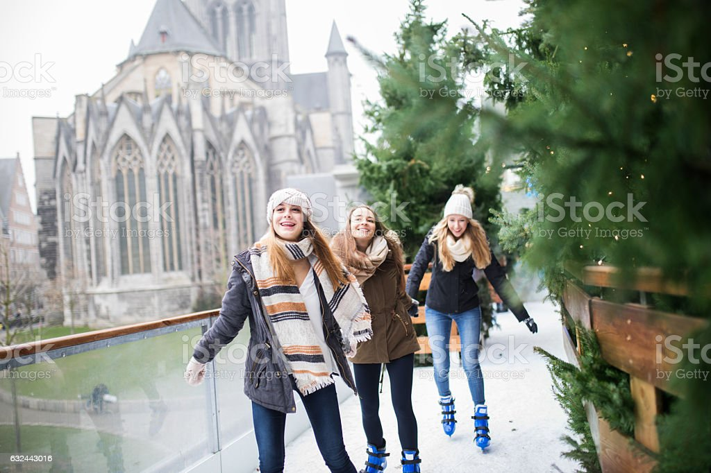 Skating with best friends! stock photo