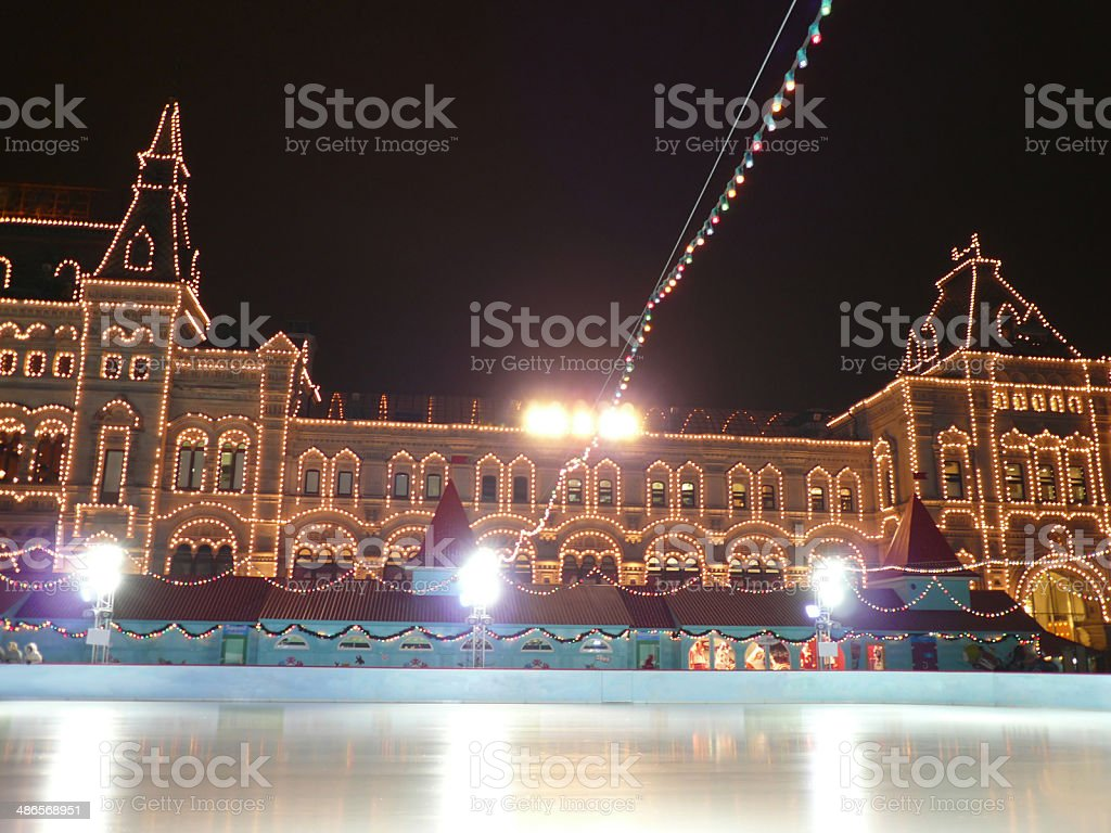 skating-rink on red square in moscow stock photo