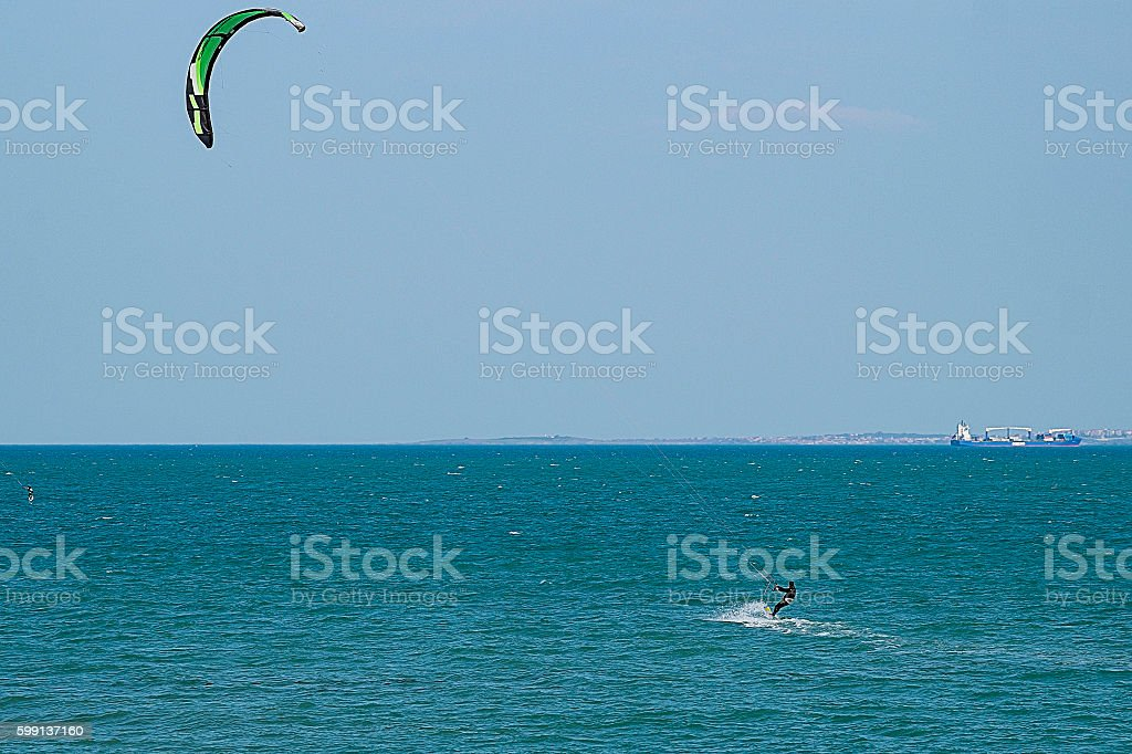 Skayserfer moves on the waves stock photo