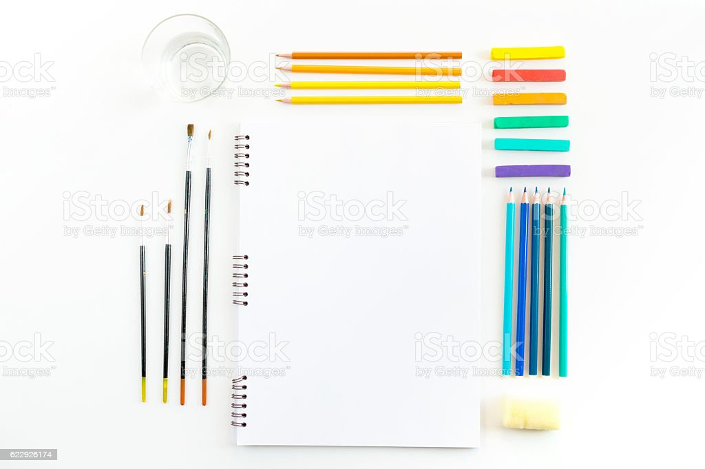 Skecthbook mock up for artwork with watercolor paints, pastels, stock photo
