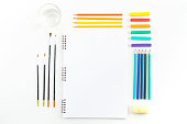 Skecthbook mock up for artwork with watercolor paints, pastels,