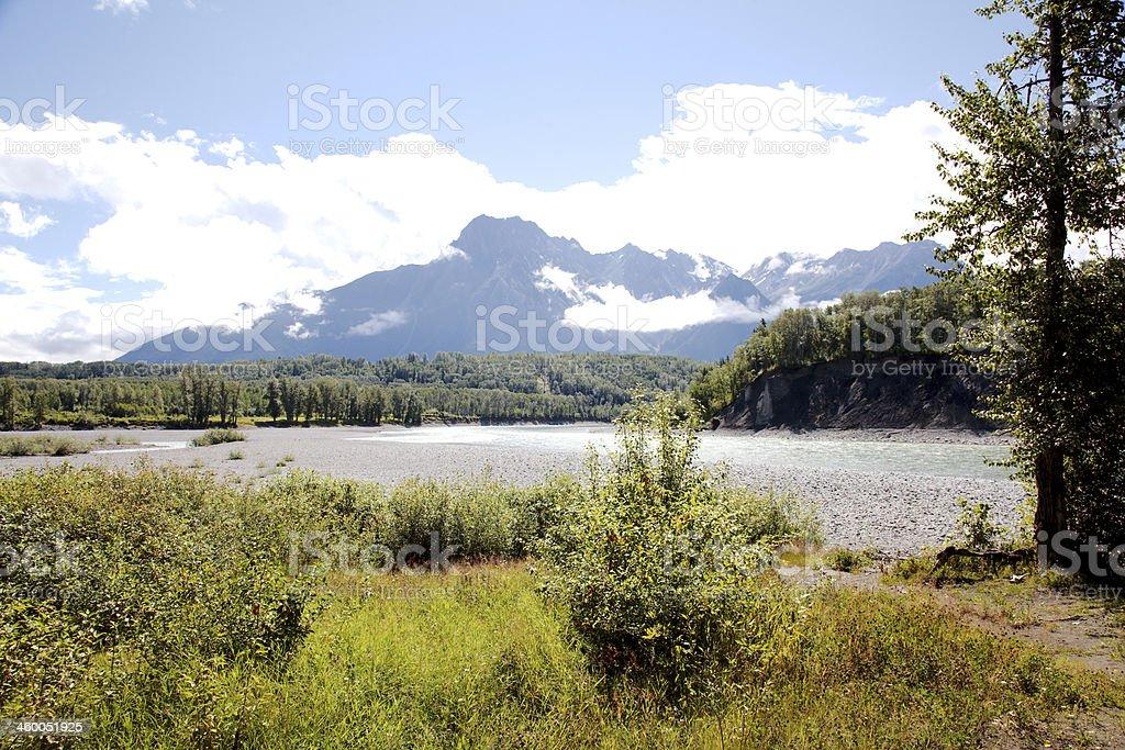 Skeena River at Hazelton, B.C., Canada. stock photo