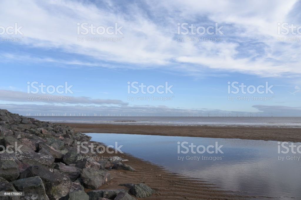 Skegness beach and wind farm stock photo