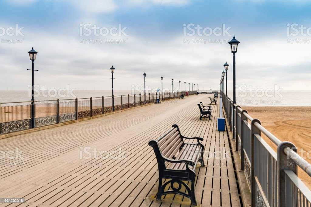 Skegness Pier and beach stock photo