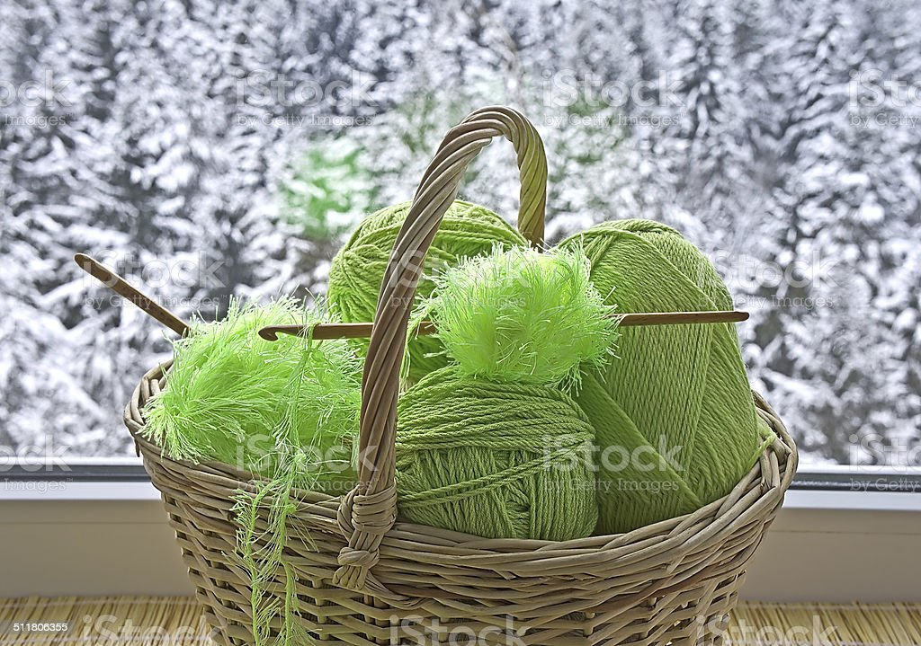 Skeins in basket stock photo
