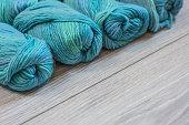 Skeins of beautiful turquoise yarn