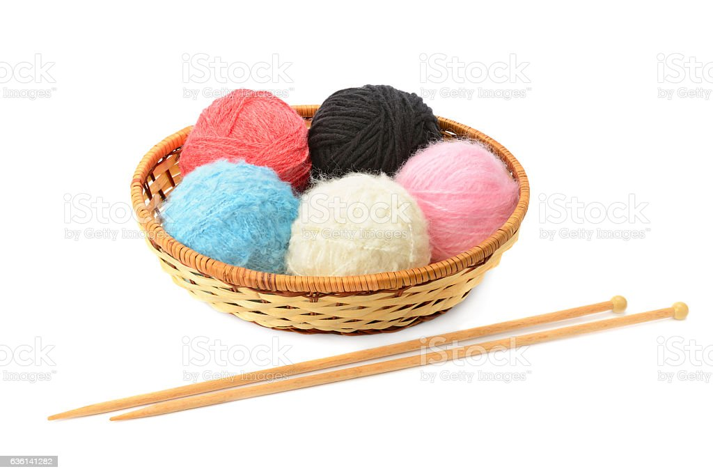 skeins of yarn and knitting needles isolated stock photo